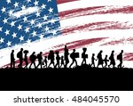 silhouettes of refugees and... | Shutterstock .eps vector #484045570