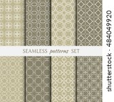 set of eight seamless geometric ... | Shutterstock .eps vector #484049920