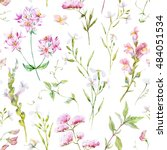 watercolor floral pattern ... | Shutterstock . vector #484051534