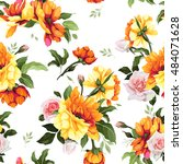 seamless floral pattern with... | Shutterstock .eps vector #484071628