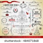 christmas decoration collection ... | Shutterstock .eps vector #484071868