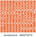 set of camping equipment icons. ... | Shutterstock .eps vector #484075474