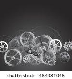 steel gears on a black... | Shutterstock .eps vector #484081048