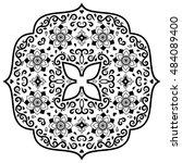 vector henna tatoo mandala.... | Shutterstock .eps vector #484089400