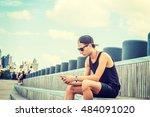 man travels in new york in hot... | Shutterstock . vector #484091020