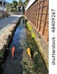 Small photo of Waterflow in Japanese old buke yashiki street