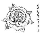 blackwork tattoo flash. rose... | Shutterstock .eps vector #484097476