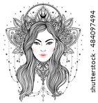 tribal fusion boho diva.... | Shutterstock .eps vector #484097494