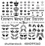 set of black and white design... | Shutterstock .eps vector #484099360