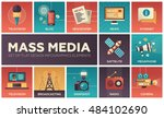 set of modern flat design mass... | Shutterstock . vector #484102690