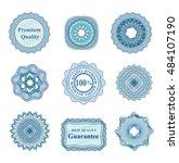 set of blue vector guilloche... | Shutterstock .eps vector #484107190