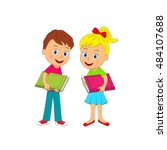 kids boy and girl  with book ... | Shutterstock .eps vector #484107688