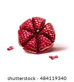 Pomegranate With Seeds On Whit...