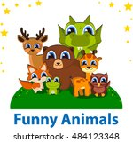 funny animals editable vector... | Shutterstock .eps vector #484123348