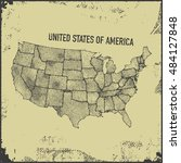 stylized usa map. vector... | Shutterstock .eps vector #484127848