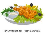 illustration of chicken kebab... | Shutterstock .eps vector #484130488