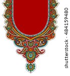 dress neck print design | Shutterstock . vector #484159480