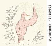birds beauty. cute birds.  hand ... | Shutterstock .eps vector #484169938