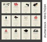 calendar 2017 with symbols... | Shutterstock .eps vector #484174264