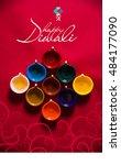 happy diwali or happy deepavali ... | Shutterstock . vector #484177090