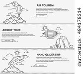 airship tourism banner in line... | Shutterstock .eps vector #484178314