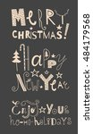 vector set of holidays signs ... | Shutterstock .eps vector #484179568