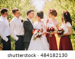 bridesmaids have fun while... | Shutterstock . vector #484182130