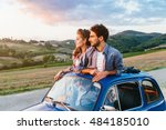 loving couple on summer... | Shutterstock . vector #484185010