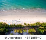 aerial view of white sand beach ... | Shutterstock . vector #484185940