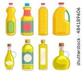 vegetable oil assorted bottles... | Shutterstock .eps vector #484189606