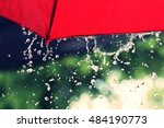 red umbrella and rain | Shutterstock . vector #484190773