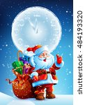 santa claus standing in the... | Shutterstock .eps vector #484193320