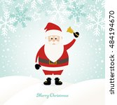 lovely santa claus at winter... | Shutterstock .eps vector #484194670