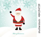 lovely santa claus at winter... | Shutterstock .eps vector #484194739