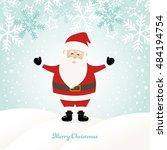 lovely santa claus at winter... | Shutterstock .eps vector #484194754