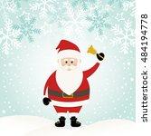lovely santa claus at winter... | Shutterstock .eps vector #484194778