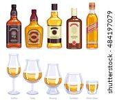whiskey bottles and glasses... | Shutterstock .eps vector #484197079