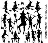 silhouettes of halloween... | Shutterstock .eps vector #484207066