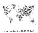 world map mosaic of grey cog... | Shutterstock .eps vector #484222468