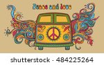 hippie vintage car a mini van.... | Shutterstock .eps vector #484225264