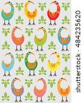 seamless pattern with funny...   Shutterstock .eps vector #484235620