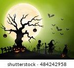 halloween background with... | Shutterstock . vector #484242958