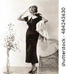 woman wearing long dress with... | Shutterstock . vector #484243630