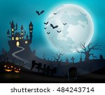 halloween night background with ... | Shutterstock . vector #484243714