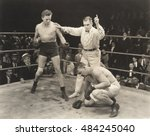 referee counting over boxer in... | Shutterstock . vector #484245040