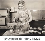 woman making preserves | Shutterstock . vector #484245229