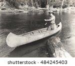 man canoeing down river | Shutterstock . vector #484245403