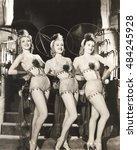 three dancers in fishnet...   Shutterstock . vector #484245928
