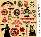 vector halloween icons  | Shutterstock .eps vector #484247296