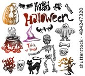 set of sketchy halloween icons  ... | Shutterstock .eps vector #484247320